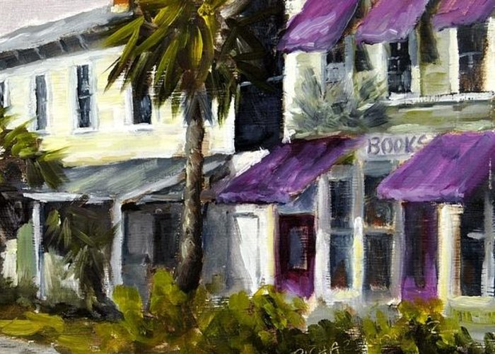 Purple Awnings Greeting Card featuring the painting Commerce And Avenue D by Susan Richardson