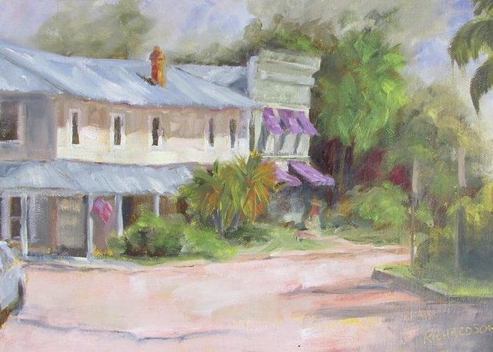 Apalachicola Greeting Card featuring the painting Commerce Street Apalach by Susan Richardson