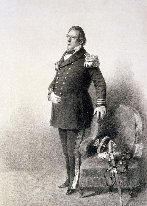 American Naval Officer Greeting Card featuring the painting Commodore Matthew Calbraith Perry by Wilhelm Heine