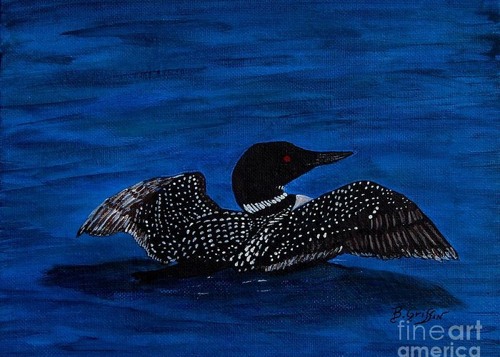 Barbara Griffin Greeting Card featuring the painting Common Loon Preening by Barbara Griffin
