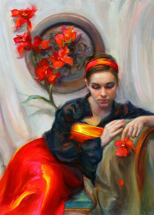Talya Greeting Card featuring the painting Common Threads - Divine Feminine In Silk Red Dress by Talya Johnson