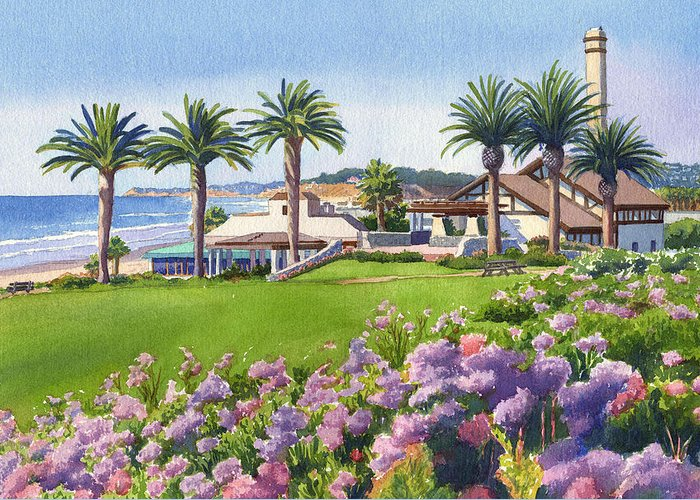 Community Center Greeting Card featuring the painting Community Center At Del Mar by Mary Helmreich