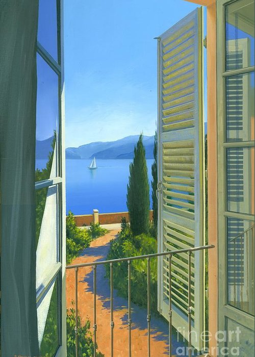 Lake Como Greeting Card featuring the painting Como View by Michael Swanson
