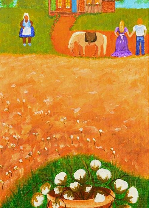Folk Art Greeting Card featuring the painting Company Come To Call by Nina Stephens