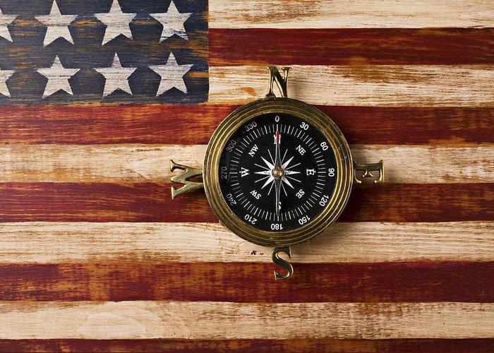 Folk Art American Flag Greeting Card featuring the photograph Compass On Wooden Folk Art Flag by Garry Gay