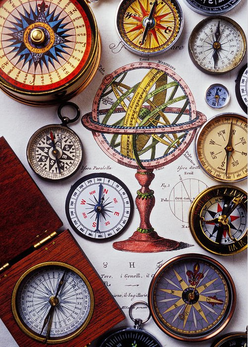 Compass Greeting Card featuring the photograph Compasses And Globe Illustration by Garry Gay