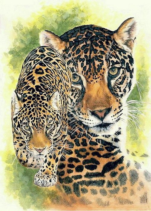 Jaguar Greeting Card featuring the mixed media Compelling by Barbara Keith
