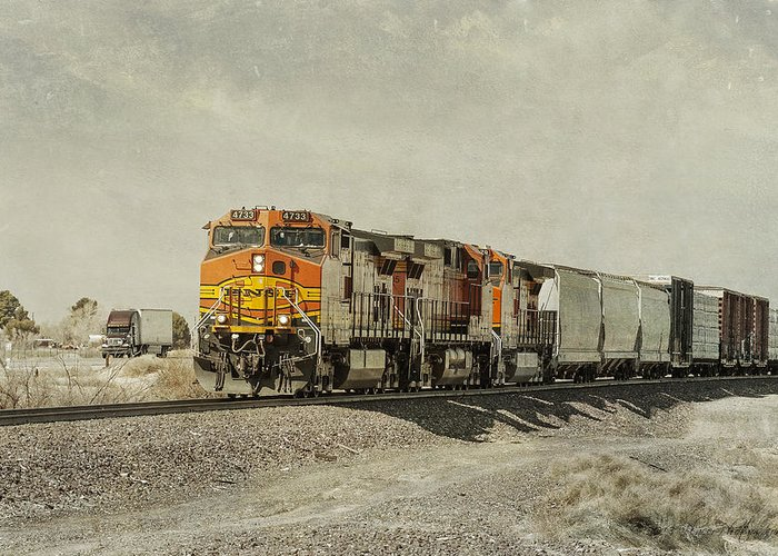 Bnsf Greeting Card featuring the photograph Competitors by Jim Thompson