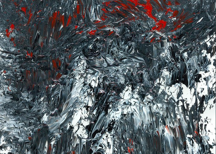 Black And White Plus Red Greeting Card featuring the painting Complexity by Douglas G Gordon