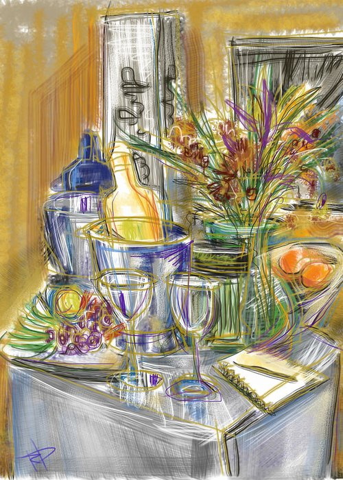 Wine Service Mixed Media Greeting Cards