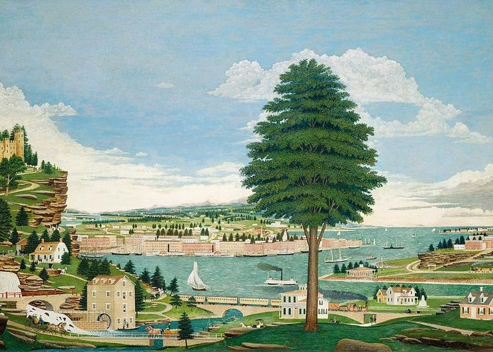 Harbor Greeting Card featuring the painting Composite Harbor Scene With Castle by Jurgen Frederick Huge