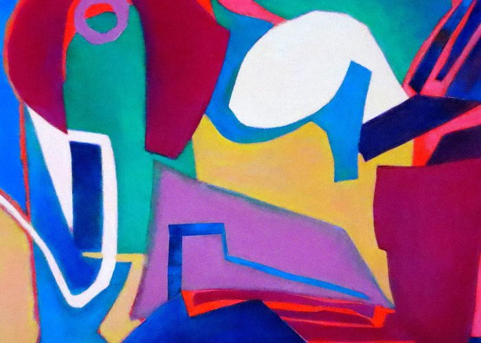 Abstract Expressionism Greeting Card featuring the mixed media Composition In See by Diane Fine