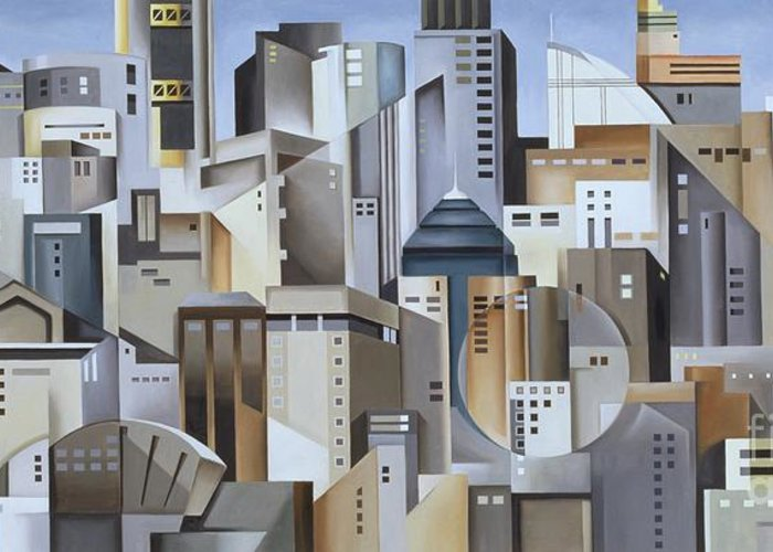 Composition Greeting Card featuring the painting Composition Looking East by Catherine Abel