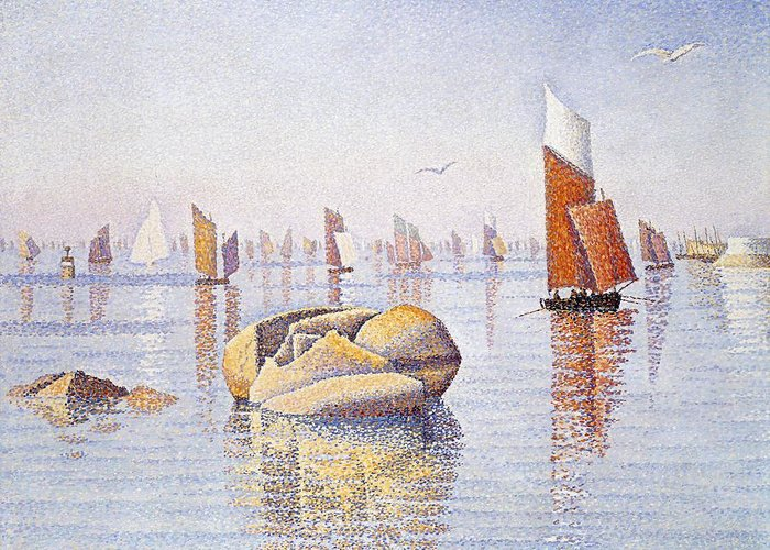Boat Greeting Card featuring the painting Concarneau  Quiet Morning by Paul Signac