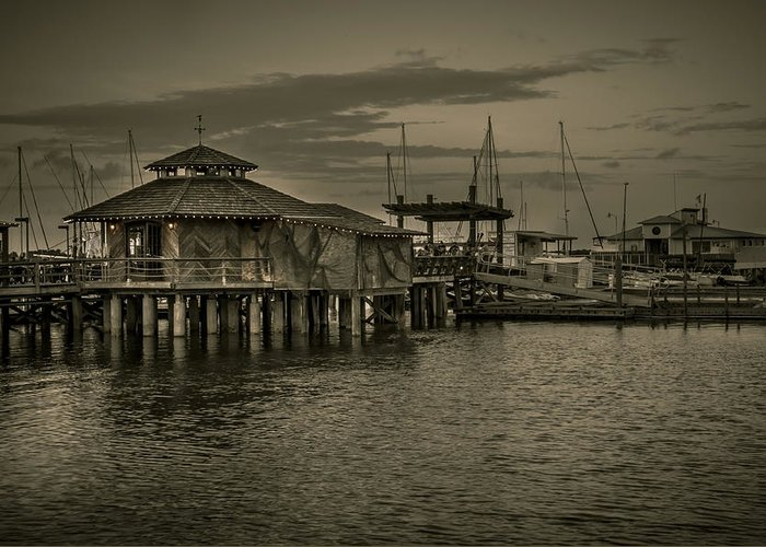 B&w Greeting Card featuring the photograph Conch House Marina by Mario Celzner