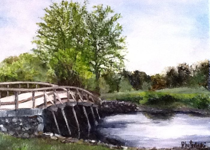 Concord Bridge Greeting Card featuring the painting Concord Bridge by Cindy Plutnicki