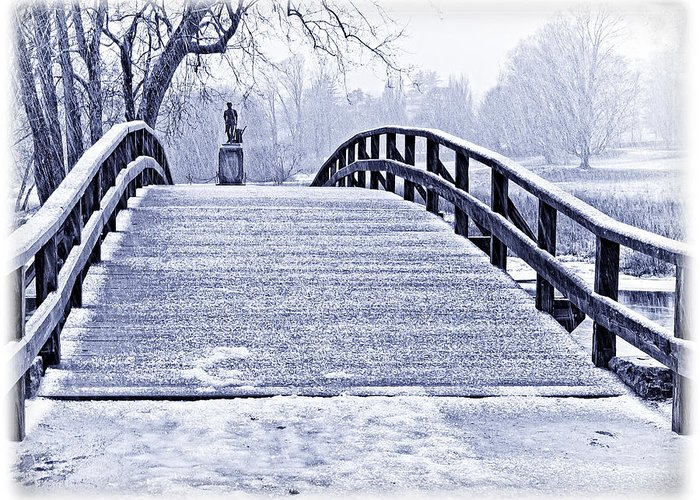 Concord Bridge Greeting Card featuring the photograph Concord Bridge In Winter by Bill Boehm