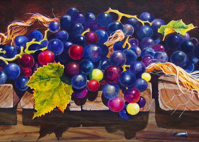 Purple And Red Concord Grapes Cascading Over A Wooden Step With Yellow Twine; Nails And Shadows Greeting Card featuring the painting Concord Grapes On A Step by Sarah Luginbill