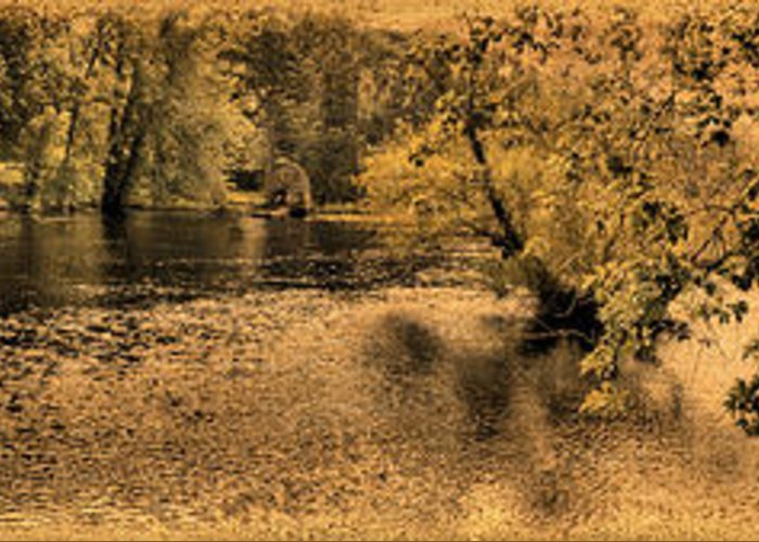 Panorama Greeting Card featuring the photograph Concord River At Old North Bridge by Nigel Fletcher-Jones