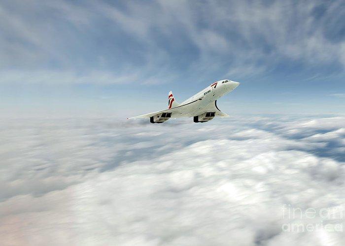 Concorde Greeting Card featuring the digital art Concorde Legend by J Biggadike