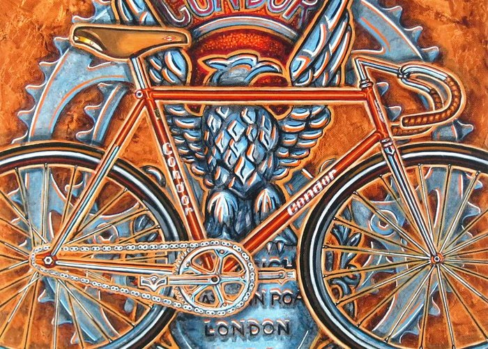 Bicycle Greeting Card featuring the painting Condor Fixed by Mark Jones