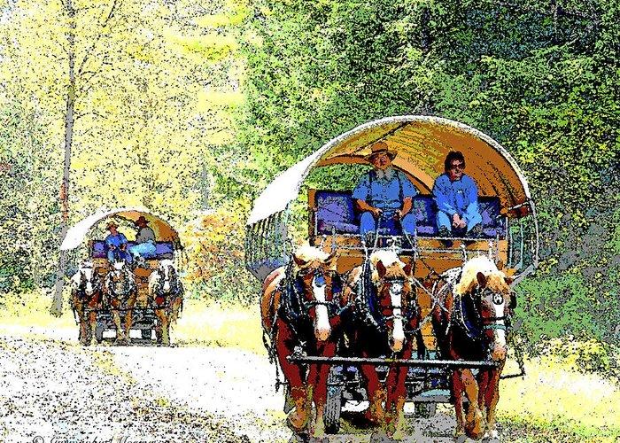 Conestoga Wagons Greeting Card featuring the photograph Conestoga Wagons by A Gurmankin