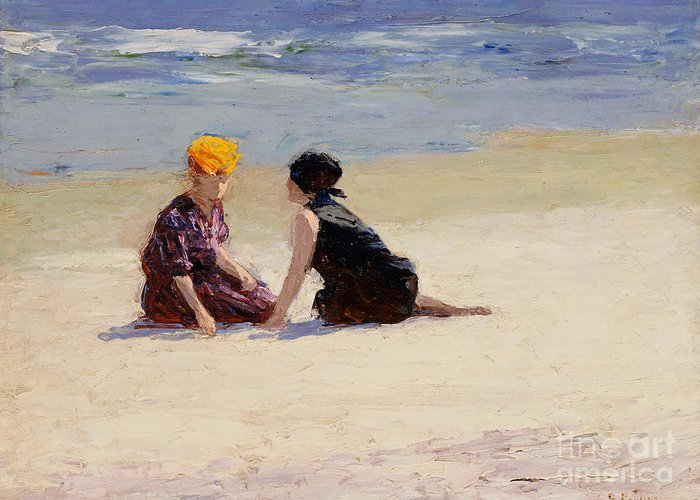 Couple Greeting Card featuring the painting Confidences by Edward Henry Potthast