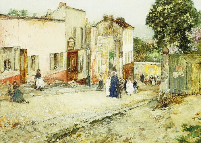 African-american; American Impressionism;impressionist; Attire; Blue; Boys; Building Exterior; Caucasian; Caucasian Ethnicity; Children; Town Life; Clothes; Clothing; Community; Color; Countryside; Daytime;deterioration; Disrepair; Ethnic Origin; Exterior Greeting Card featuring the painting Confirmation Day by Childe Hassam
