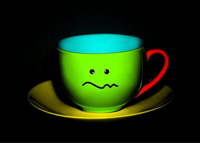 Tea Greeting Card featuring the photograph Confused Colorful Cup And Saucer by Natalie Kinnear