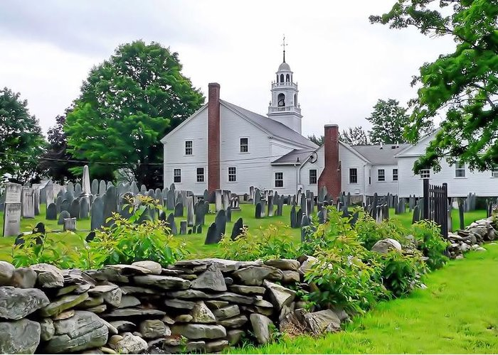 Janice Drew Greeting Card featuring the photograph Congregational Church Cemetery Hollis Nh by Janice Drew