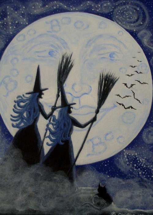 Man Greeting Card featuring the painting Conjuring Constellations by Christine Altmann