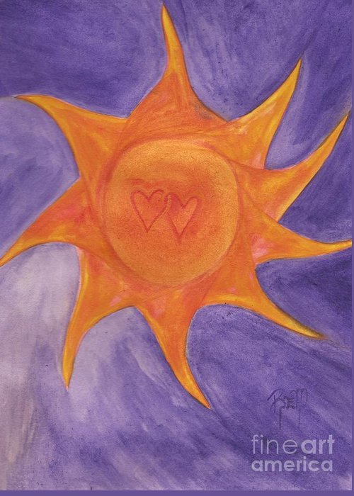 Sun Greeting Card featuring the painting Connected by Robert Meszaros