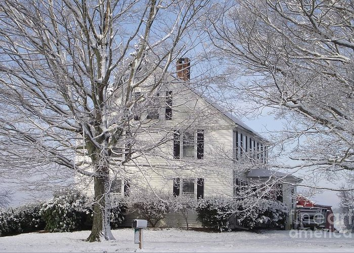 Connecticut Farmhouse Greeting Card featuring the photograph Connecticut Winter by Michelle Welles