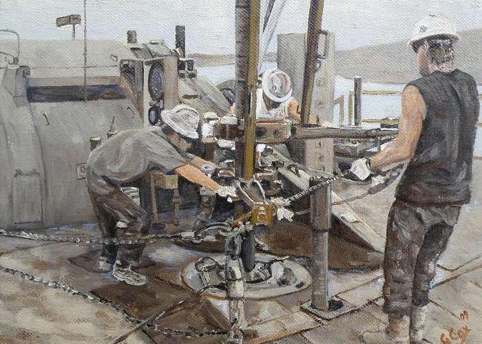 Oilfield Art Greeting Card featuring the painting Connection Time by Galen Cox