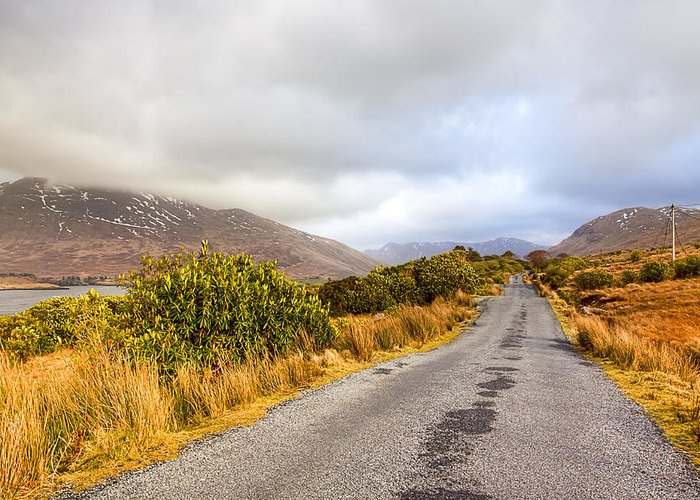 Galway Greeting Card featuring the photograph Connemara Roads - Irish Landscape by Mark Tisdale