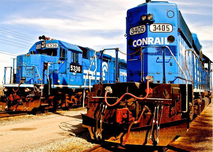Conrail Greeting Card featuring the photograph Conrail Choo Choo by Frozen in Time Fine Art Photography