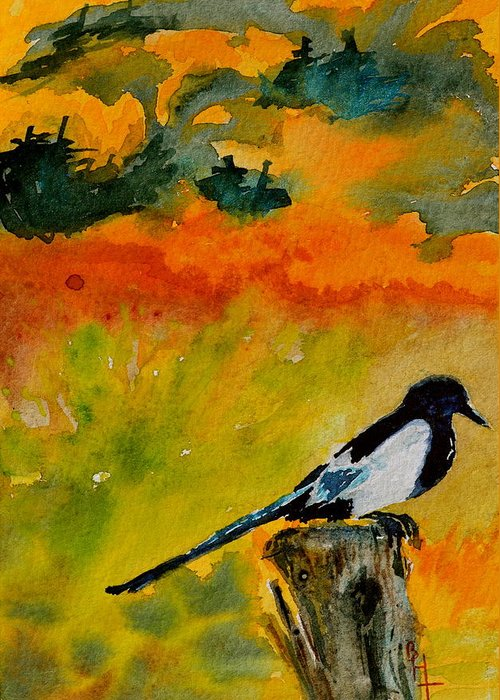 Magpie Greeting Card featuring the painting Consider by Beverley Harper Tinsley