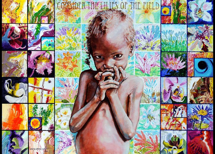 Child Greeting Card featuring the painting Consider The Lilies of The Field by John Lautermilch