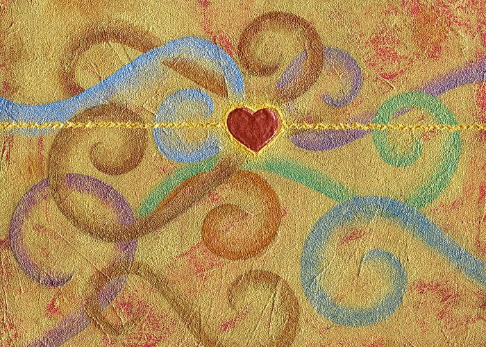 Heart Greeting Card featuring the painting Constant in Chaos by Elaine Allen