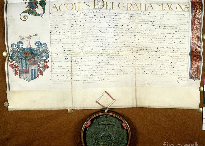 1600s Greeting Card featuring the photograph Constantijn Huygens Knighthood 1622 by Spl