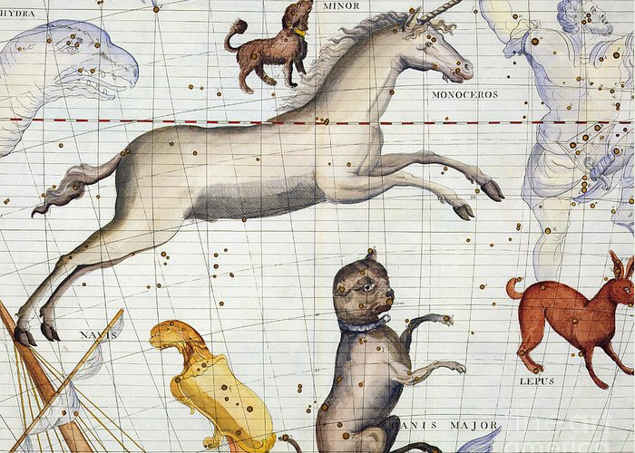 Map Greeting Card featuring the painting Constellation of Monoceros with Canis Major and Minor by Sir James Thornhill