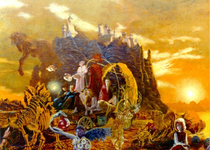 Henryk Greeting Card featuring the painting Constructors Of Time by Henryk Gorecki