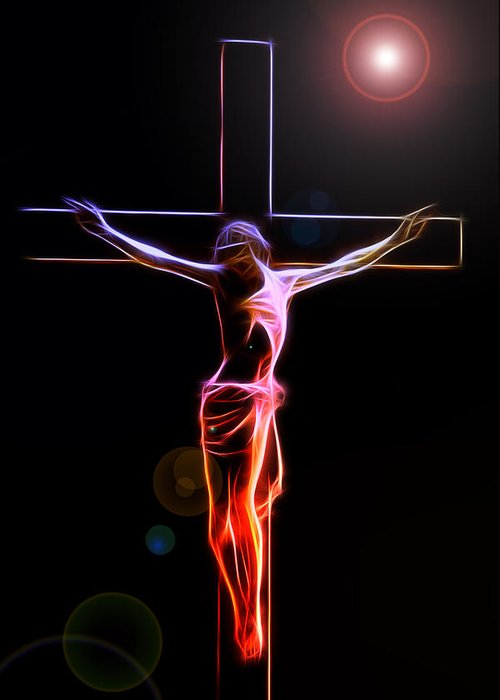 Crucified Jesus Life Faith Believe Christian Church Cross Forgiveness Resurrection Bible Eternity Glow Glowing Abstract Digital Painting Expressionism Impressionism Sin Father Holy Spirit God Maria Stigmata Crown Thorn Thorns Suffering Death Consummatum Est Greeting Card featuring the digital art Consummatum Est by Steve K