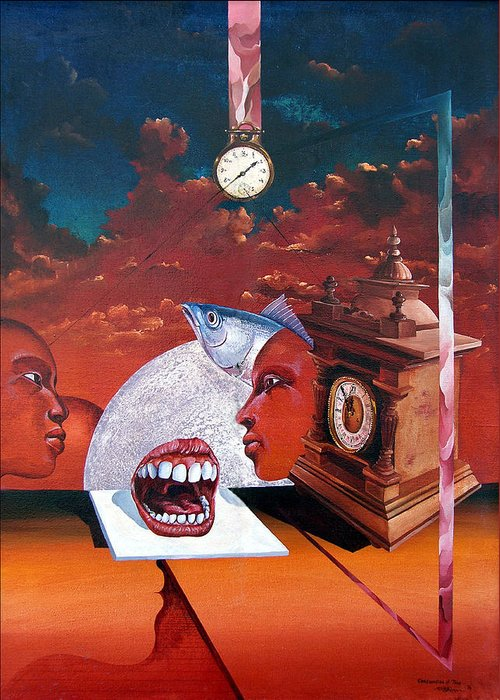Otto+rapp Surrealism Surreal Fantasy Time Clocks Watch Consumption Greeting Card featuring the painting Consumption Of Time by Otto Rapp