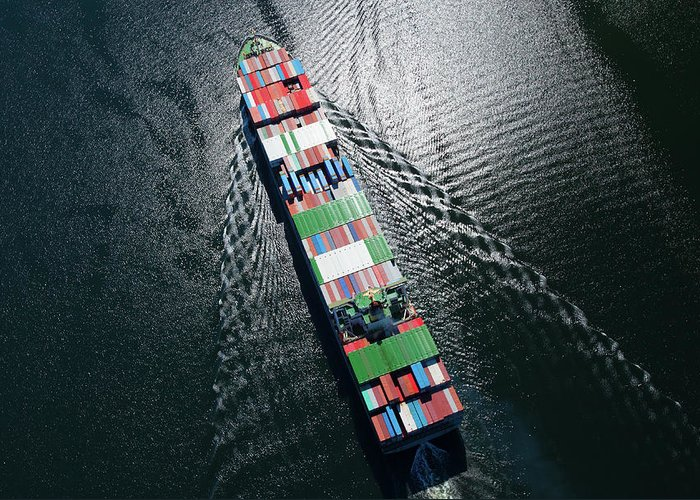 Freight Transportation Greeting Card featuring the photograph Container Ship Aerial Photo by Dan prat