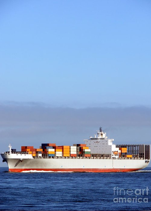Ship Greeting Card featuring the photograph Container Ship At Sea by Olivier Le Queinec