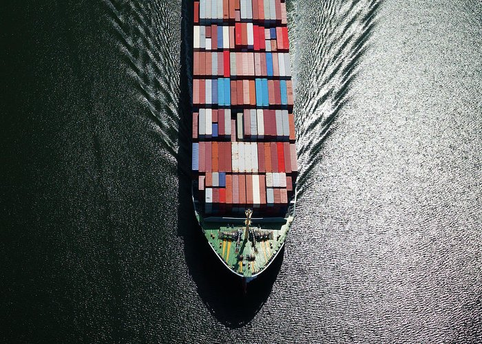 Freight Transportation Greeting Card featuring the photograph Container Ship Bow by Dan prat