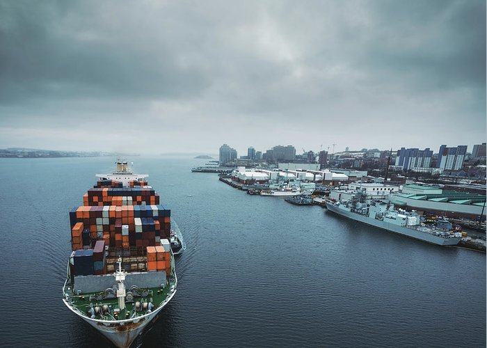 Freight Transportation Greeting Card featuring the photograph Container Ship In Halifax Harbour by Shaunl
