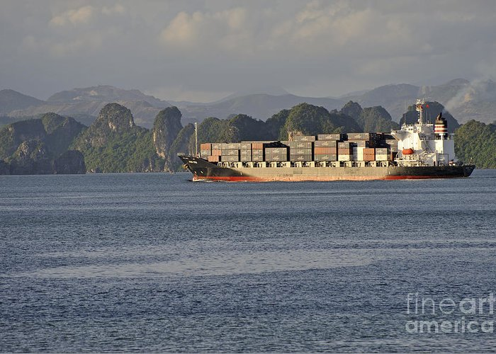Industry Greeting Card featuring the photograph Container Ship In Halong Bay by Sami Sarkis