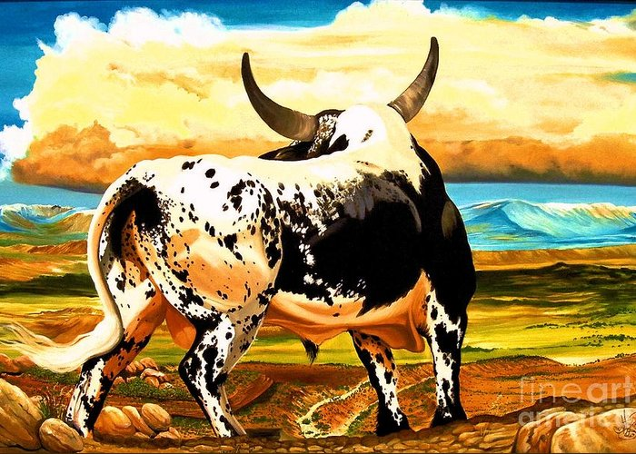 Bucking Bulls Greeting Card featuring the painting Contemplated Journey by Cheryl Poland